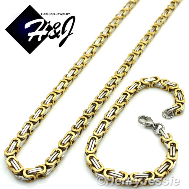 "20""MEN's Stainless Steel 6mm Gold Silver Box Link Chain Necklace Bracelet SETS"