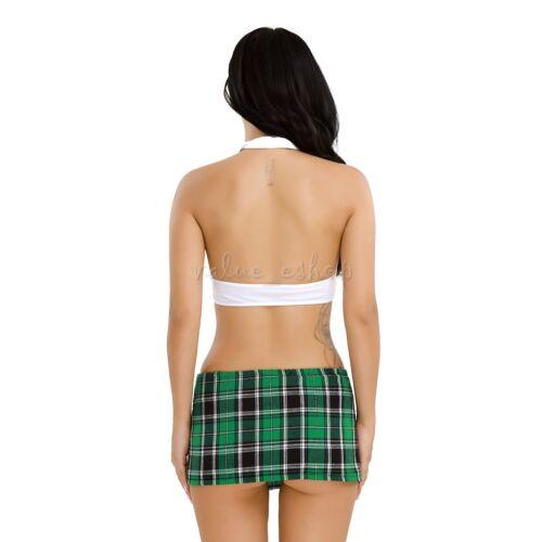 Naughty School Girl Plaid Mini Jupe Cravate Déguisement Adulte Halloween Cosplay