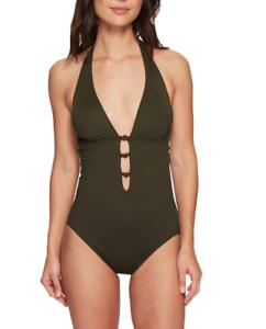 Lauren Ralph Lauren Womens Olive Beach Knot One Piece Swimsuit Sz 12 6903