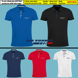 Air-France-Polo-T-Shirt-EMBROIDERED-Airplane-Logo-Slim-Tee-Mens-Clothing-Gift