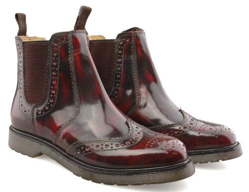 Mens Leather Dealer Boots Hi-shine Oxblood Brogue Chelsea Boots 3-14
