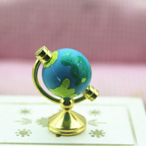 Dollhouse miniature 1:12 scale mini blue alloy rotatable earth global YEZY