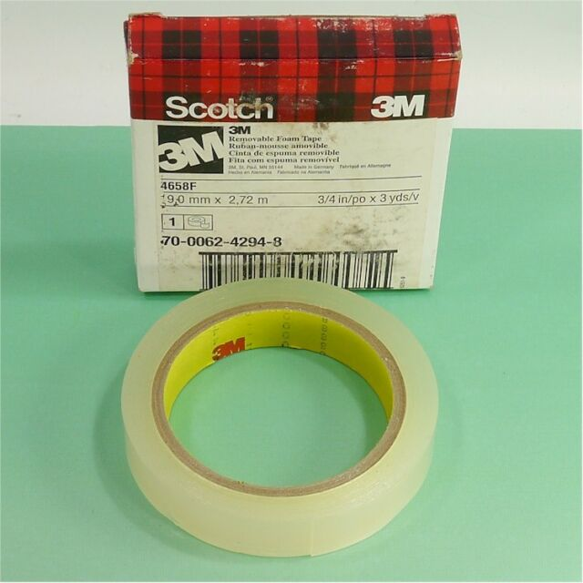 x 27 yds 3M Scotch 4658F Double Coated Removable Foam Tape Clear 1//2 in
