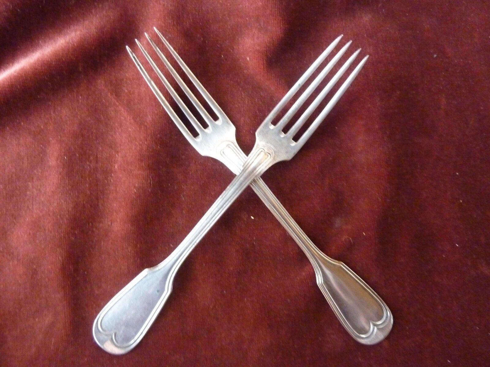 2 fourchettes filet poincon allemand argent 800 1000 poids 110g