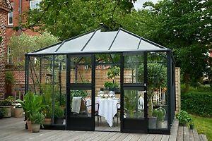 JULIANA Gewächshaus Oase 13,5 m² Glas ESG 3 mm anthrazit Pavillon