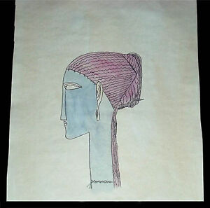 Amadeo-Modigliani-ca-1912-039-Head-left-profile-earrings-amp-necklace-039-watercolor-COA