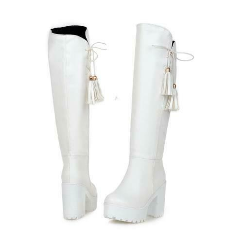 Details about  /New Ladies Knee High Chunky Cleated Platform Womens Goth Cosplay Zip Up Boots D