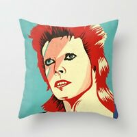David Bowie Ziggy Stardust Painted Throw Pillow Cushion Case