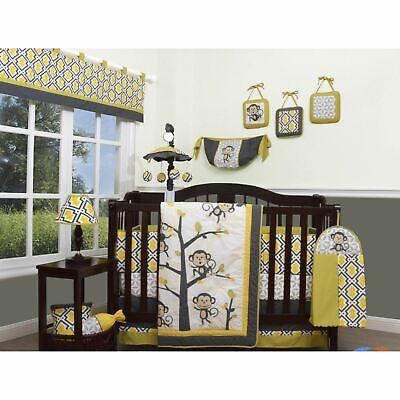 Yellow Gray White Monkey 13 Pc Crib, Yellow Gray Crib Bedding