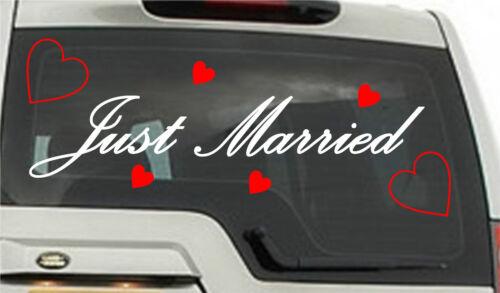 JUST MARRIED car sticker  Romance Love Wedding Hearts A3