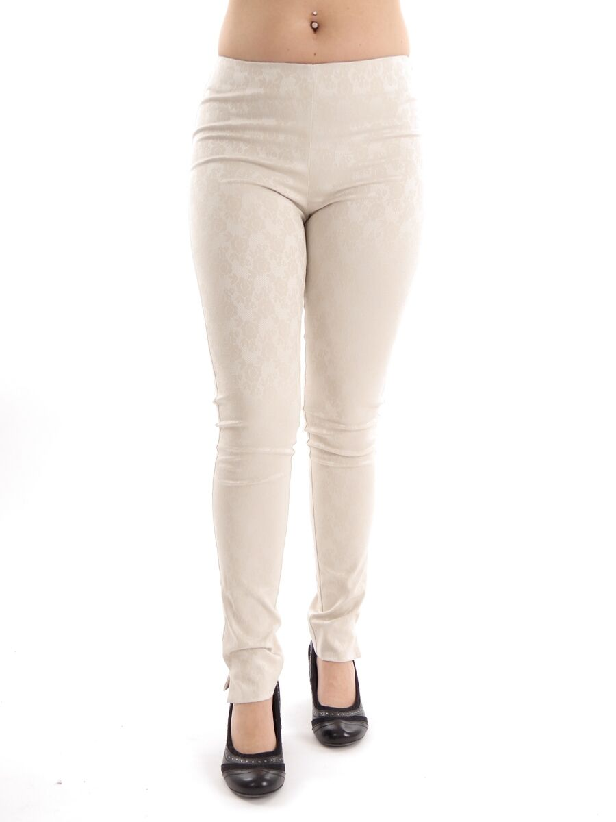 Leidiro Pants or Casual Trousers Cloth Trousers Beige Pattern Elastic Zipper