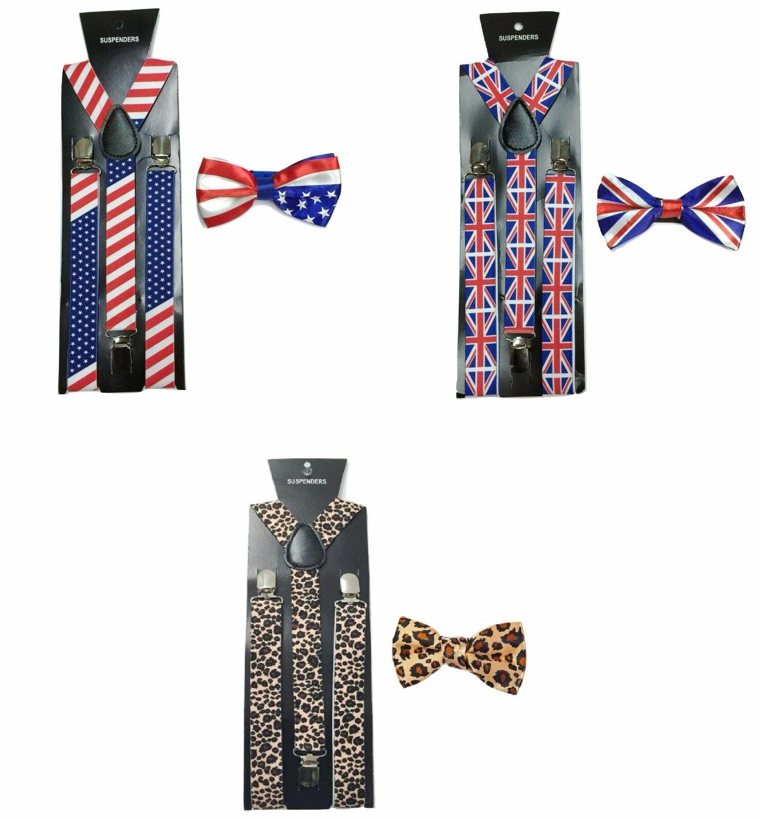 Fliege + Hosenträger Satz American UK Flagge Union Jack Leopard