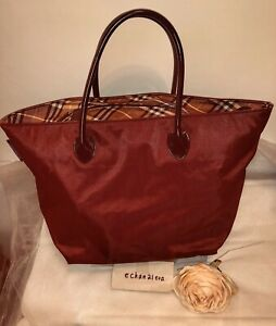 5788dba42 ☆ SALE ☆】Auth BURBERRY BLUE LABEL JAPAN Burgundy Brown Large Tote ...