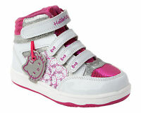 GIRLS HELLO KITTY WHITE HI TOP TRAINERS CASUAL SHOES PUMPS BOOTS KIDS SIZE 8-2