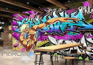 3D Graffiti Letters Gym Wall Murals Wallpaper Wall Art Decals Decor