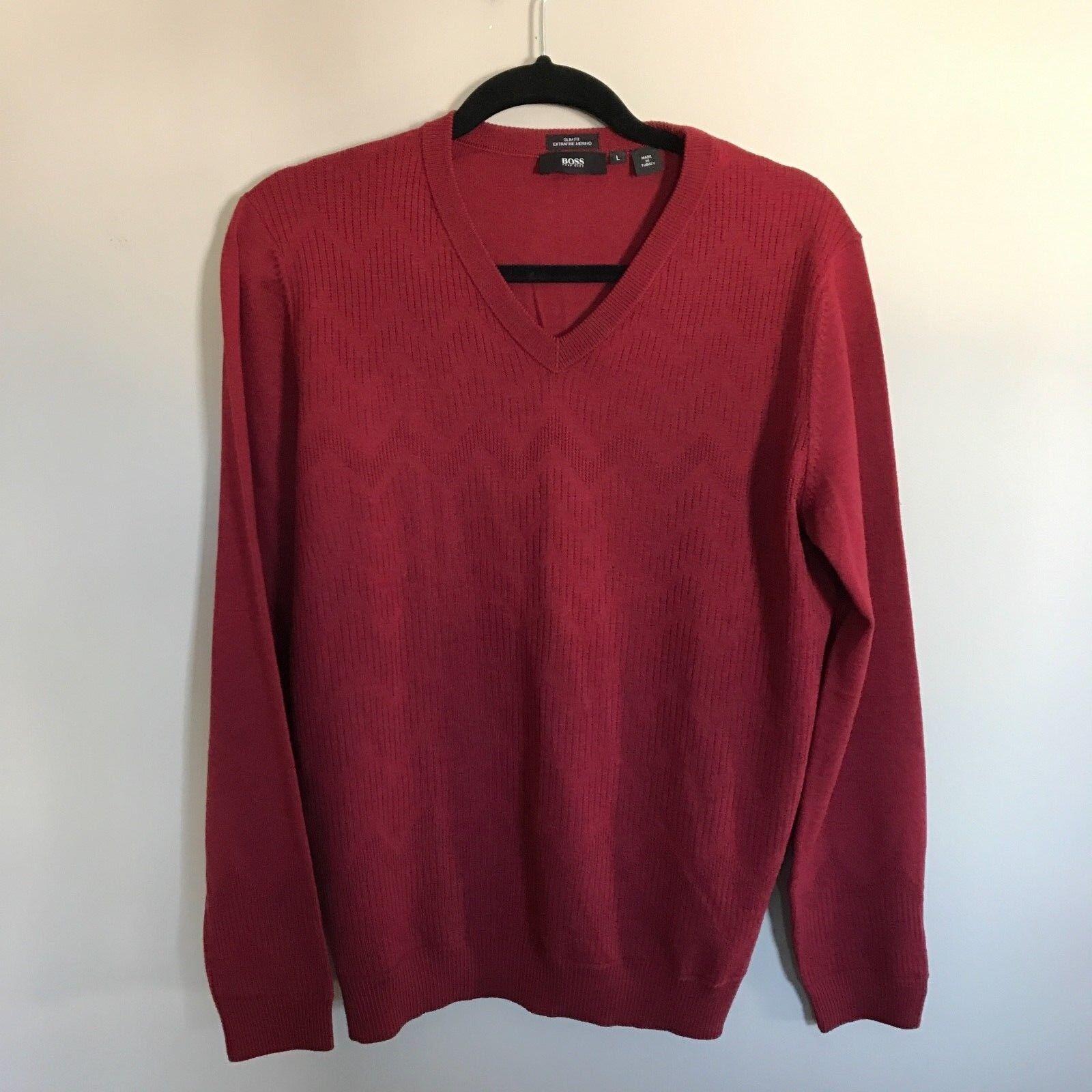 Hugo Boss By Hugo Boss Slim Fit Extrafine Merino Wool Sweater Size L