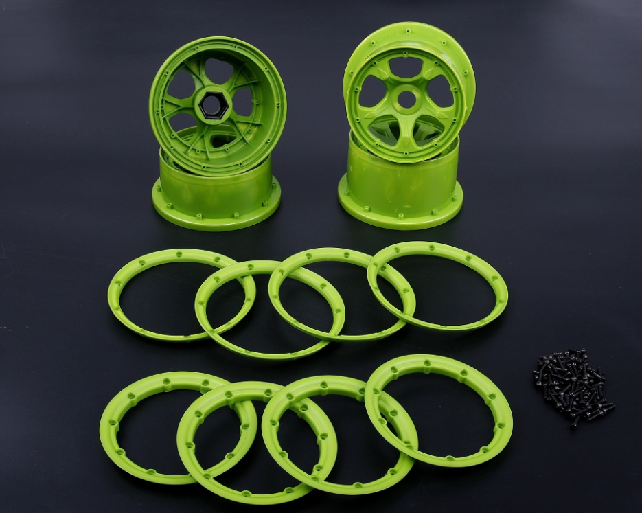 High strength nylon front&rear wheel hub and rim set verde for 1/5 hpi baja 5b