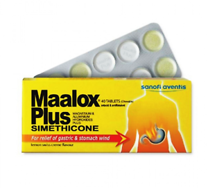 10-X-Maalox-Plus-SIMETHICONE-Tablets-40-039-s-For-Gastric-Stomach-Wind-amp-Heartburn
