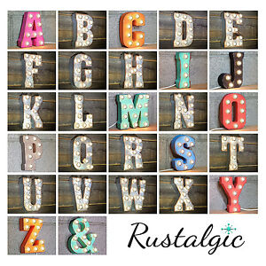 "ENTIRE ALPHABET 7"" Metal Marquee Vintage LED Plug-In Sign Letter Light 15 COLORS"