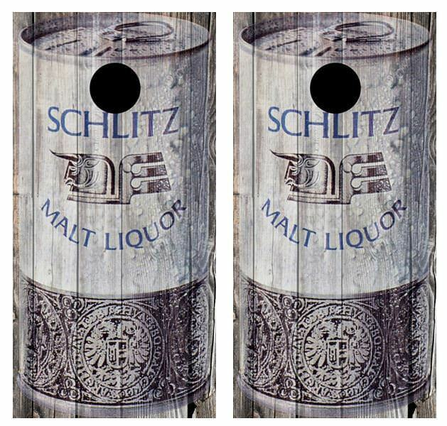 Vintage Schlitz Malt Liquor - Beer Can Barnwood Cornhole Board Wraps