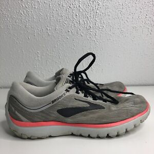 Brooks-Womens-Pure-Flow-7-Nylon-Pink-Gray-Lace-Up-Athletic-Running-Shoes-Size-8
