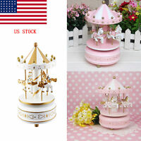 Hot Wooden Merry-go-round Carousel Music Box Girls Kids Creative Gift Toy Us