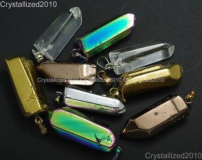 Natural Crystal Quartz Rock Gemstone Pointed Stick Reiki Chakra Healing Pendant