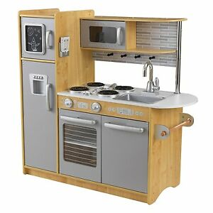 Image Is Loading Kidkraft Uptown Espresso Kitchen Natural Refrigerator Kids Pretend