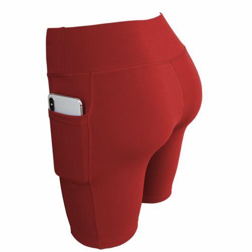 Women High Waist Stretch Biker Bike Shorts Fitness Leggings Hot Pants w// Pockets