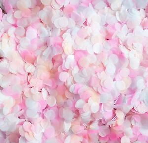 Vrac-Biodegradable-Mariage-Confettis-rose-vif-peche-amp-blanc-10-100-Poignees