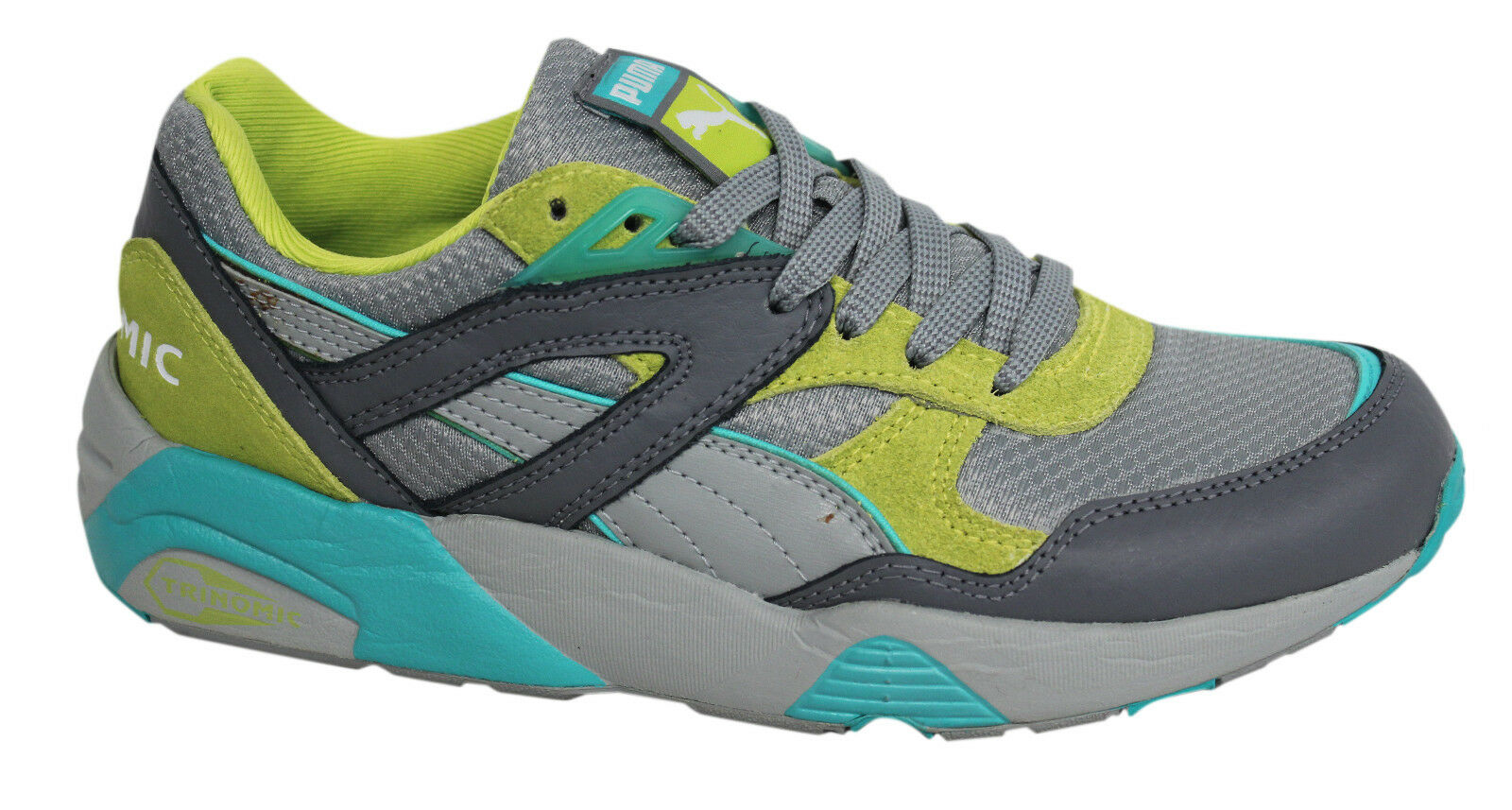 Puma Trinomic R698 NM Lace Up Grey Lime Turquoise Mens Trainers 352964 01 U5