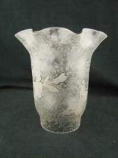 "PRETTY ETCHED & FINELY MOULDED SMALL OIL LAMP / GAS LAMP SHADE 6.2CM/2.5"" FITTER"