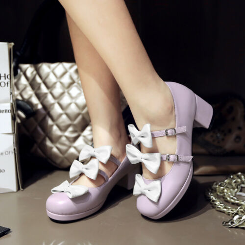 Details about  /Women Sweet Bow Mary Janes Mid Heel Round Toe Pumps Buckle Casual Shoes 4.5-10.5