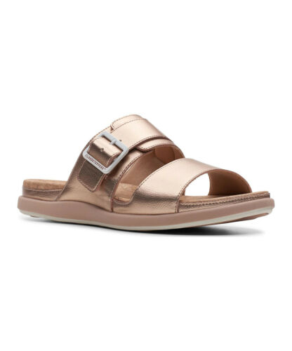 Rose Gold Size 7.0 Clarks Womens 26142551 Open Toe Casual Slide Sandals