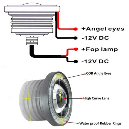 2x 3In Super Bright Car Blue LED COB Fog Angel Eyes DRL Light HeadLight Lamp