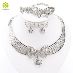 African-Costume-Silver-Plated-Jewelry-Sets-Fashion-Dubai-Rhinestone-Bow-Necklace