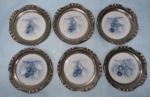 Nickel um 1910 Keramik Blaue Kirsche 6  Jugendstil Untersetzer