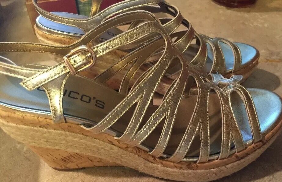 NIB $139 CHICO'S ELAINE SANDALS GOLD METALLIC CORK HEEL WEDGE SANDALS ELAINE 9M a13ba6