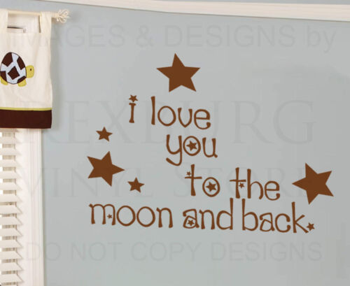 Wall Decal Art Sticker Quote Vinyl To the Moon and Back Nursery Baby/'s Room K17