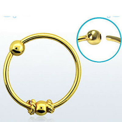Nose Hoop Gold Plated 18k 20g (0.8mm) Balinese Wire Design Single/Pair 2mm Ball