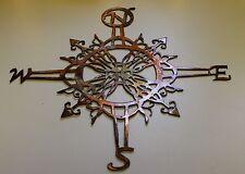 "Ornamental Nautical Rose 20"" Wall Art Metal Decor copper/bronze plated"