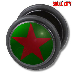 RED-STAR-ON-GREEN-FAKEPLUG-Fake-Piercing-Picture-Plug-Ohrstecker-Tattoo-Neon