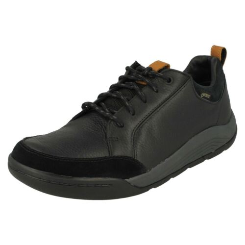 Mens Clarks Ashcombe Bay Black Or Dark Brown Waterproof Leather Shoes G fitting