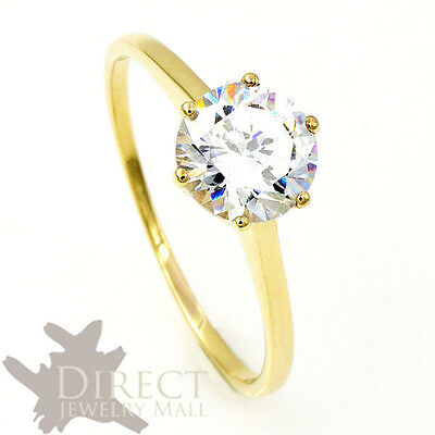 1 Carat Look 9ct Real GOLD Round Cut Created DIAMOND Solitaire ENGAGEMENT Ring