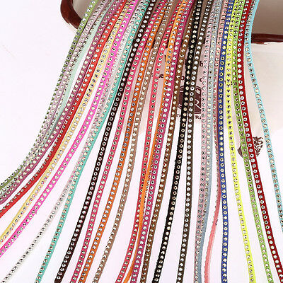 New 5m Flat Faux Suede DIY Necklace Cord Lot Thread With Rhinestones String 3mm