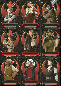 Star Wars Force Awakens Series 2 ~ HEROES OF THE RESISTANCE 16-Card Insert Set