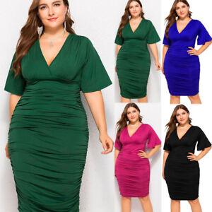 Plus-Size-Womens-V-Neck-Evening-Party-Wrap-Dress-Ladies-Cocktail-Oversized-Dress