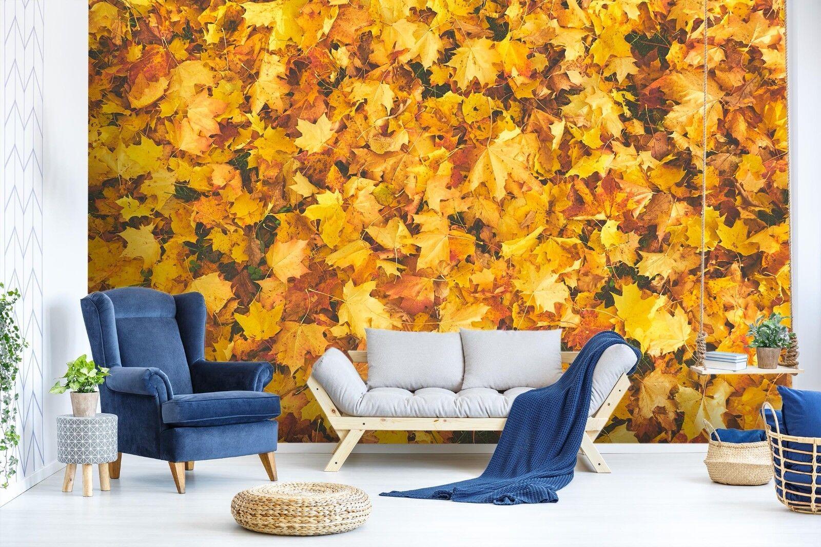 3D Gelb Maple Leaf 89 Wallpaper Mural Paper Wall Print Murals UK Lemon