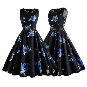 Women-Retro-50s-Belt-Floral-Sleeveless-Vintage-Rockabilly-Cocktail-Party-Dress