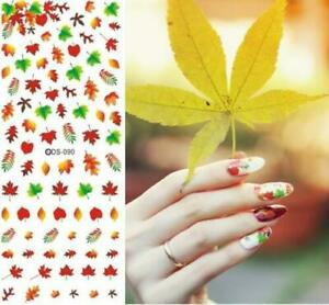 100-FALL-LEAVES-ASSORTMENT-WATER-SLIDE-NAIL-ART-DECALS-AUTUMN-LEAF-NAILS